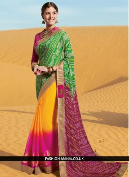 Intricate Multi Colour Lace Work Georgette Printed Saree