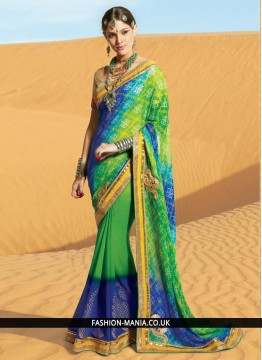 Spectacular Lace Work Georgette Printed Saree