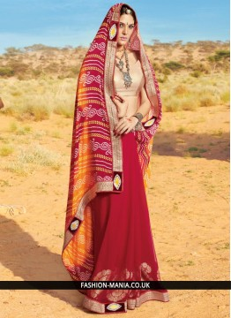 Striking Red and Yellow Printed Saree