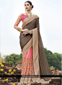Catchy Brown and Peach Resham Work Classic Designer Saree
