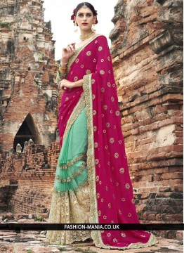 Delectable Magenta and Sea Green Embroidered Work Classic Designer Saree