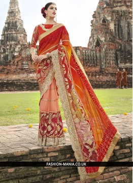 Stunning Embroidered Work Fancy Fabric Classic Designer Saree