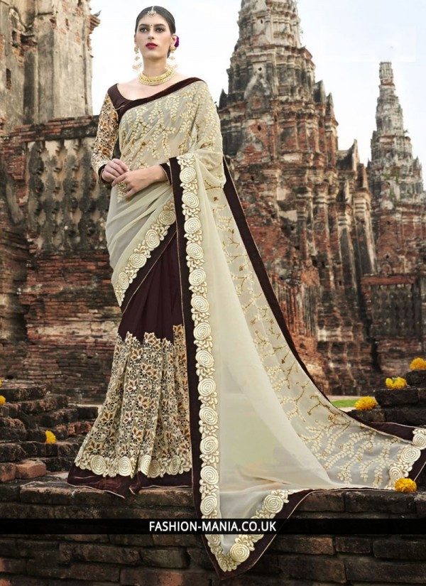 Vivacious Fancy Fabric Embroidered Work Classic Designer Saree