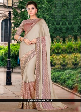 Amusing Faux Georgette Embroidered Work Traditional Saree