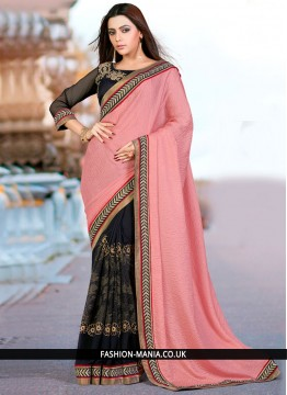 Awesome Black and Pink Classic Designer Saree