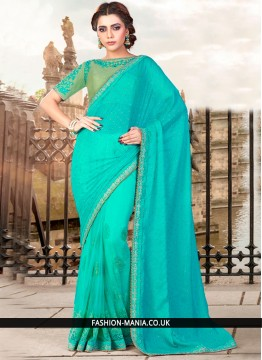 Awesome Embroidered Work Turquoise Net Classic Designer Saree