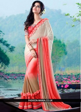 Blooming Faux Chiffon Embroidered Work Classic Designer Saree