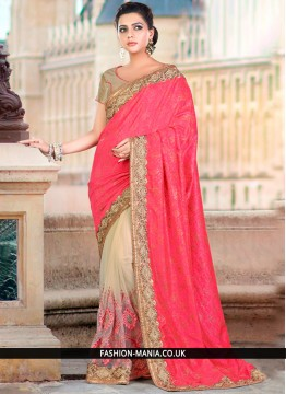 Delightsome Beige and Pink Patch Border Work Art Silk Traditional Saree