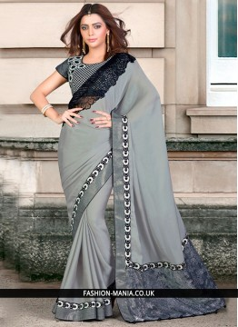 Demure Georgette Patch Border Work Traditional Saree