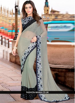 Extraordinary Black and Grey Net Classic Designer Saree