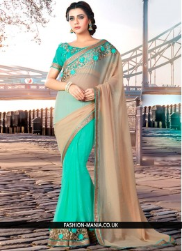 Incredible Faux Georgette Beige and Turquoise Classic Designer Saree