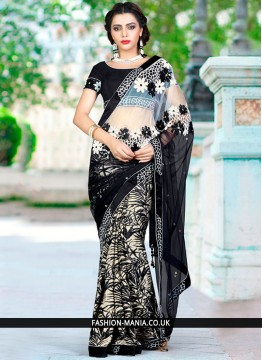 Invigorating Faux Georgette Black and Off White Designer Traditional Saree