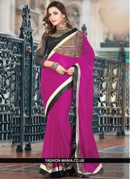 Magnificent Patch Border Work Magenta Designer Traditional Saree