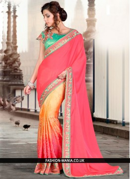 Splendid Faux Georgette Zari Work Designer Traditional Saree