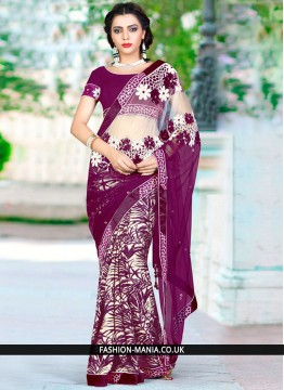 Titillating Net Embroidered Work Designer Traditional Saree